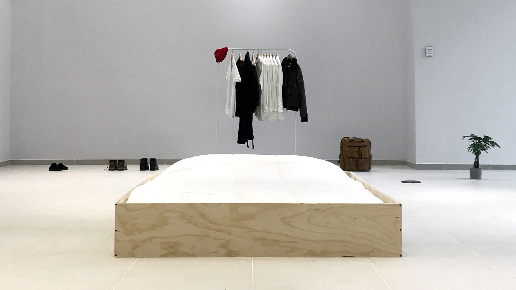 The present_Study01-A traveling exhibition + retail pop-up project where Rodriguez constructs an environment that he lives in publicly as a work of art.