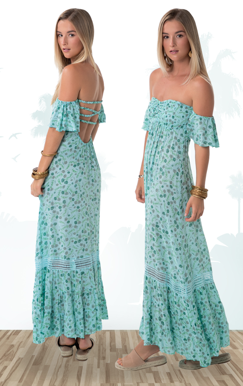DRESS YES!    Cap slv strapless maxi dress, smocked crochet-bodice, x-back, bottom ruffle  100% RAYON | XS-S-M-L
