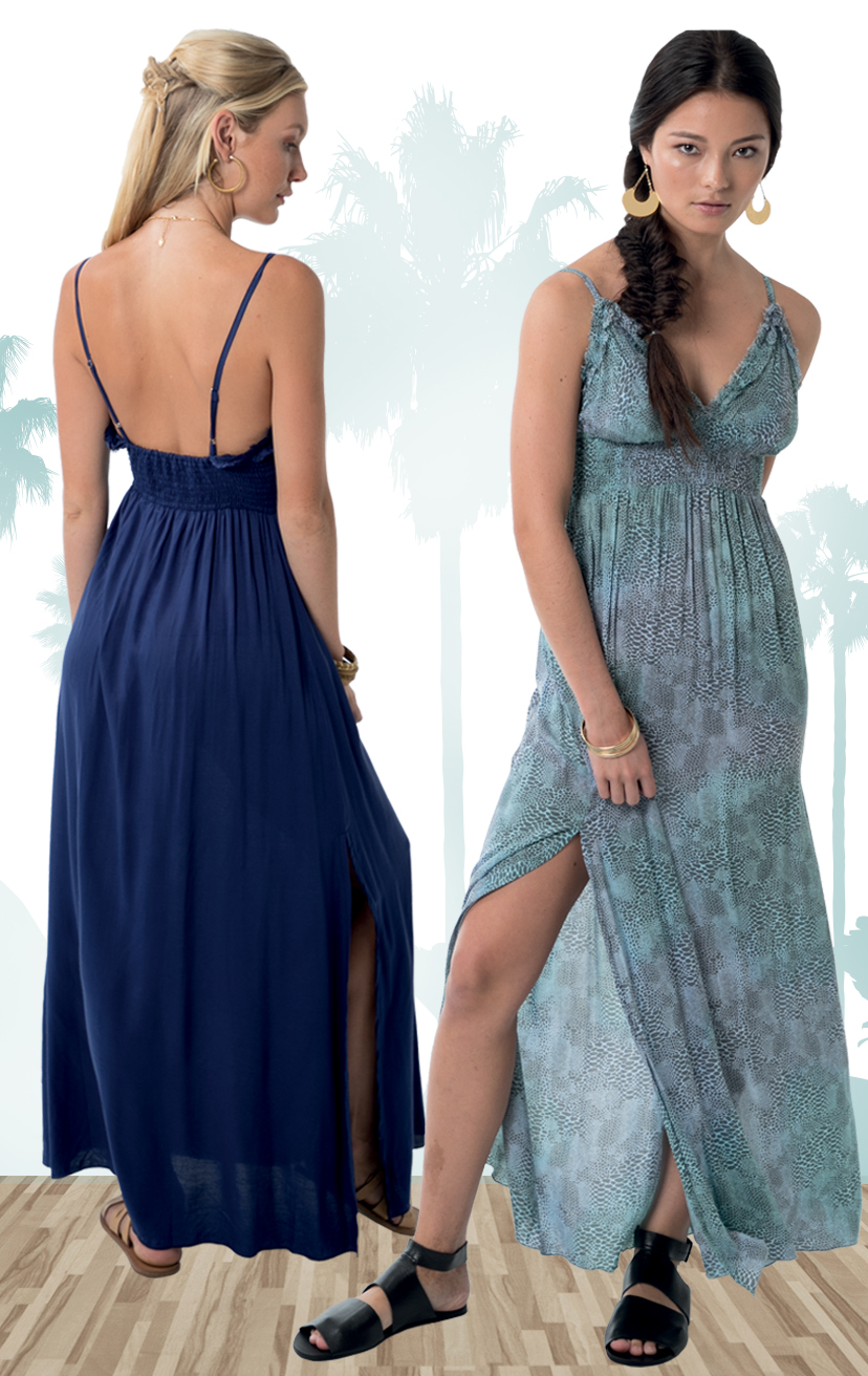 DRESS BRITA   Triangle w/ raw cut ruffle edges, spaghetti strap, elastic back, side slit maxi dress  100% RAYON | XS-S-M-L