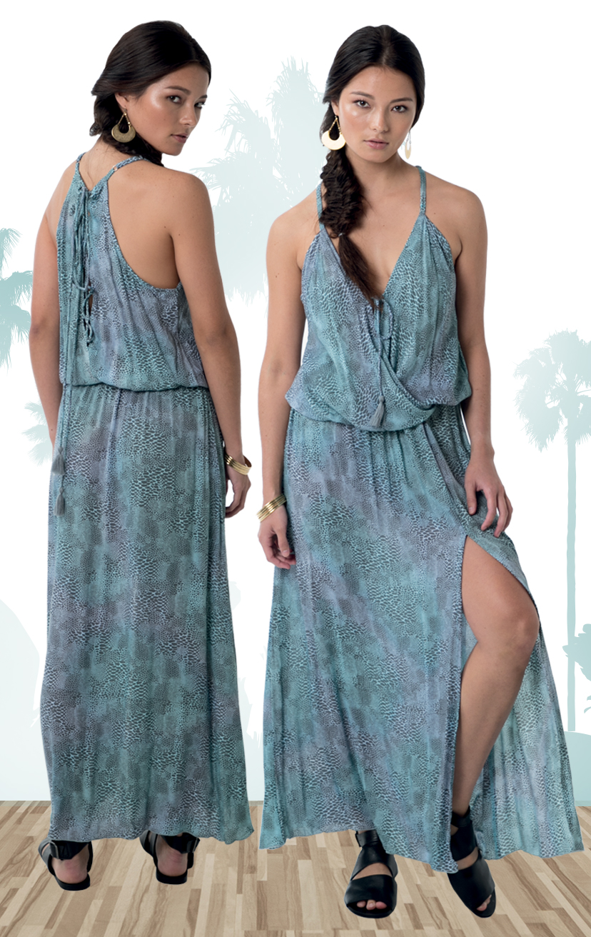 DRESS EMPIRE   Front surplice dress w/ front left leg slit, racer lattice back, front pom pom ties  RAYON CRINKLE | XS-S-M-L