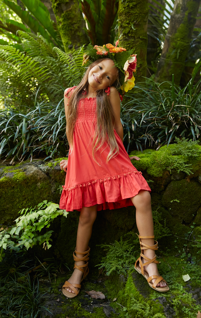DRESS OLIVIA   Spaghetti straps top smocked dress, w/ pom pom detail  100% RAYON | 2/3 | 4/5 | 6/7 | 8/10