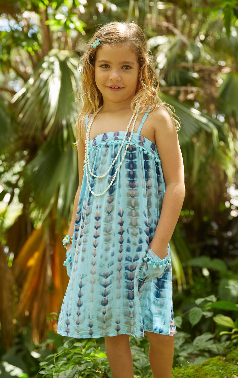 DRESS POPSICLE   Spaghetti-strap flowy dress w/ pom pom detail on top, front pockets w/ pom pom trim  100% RAYON   2/3   4/5   6/7   8/10