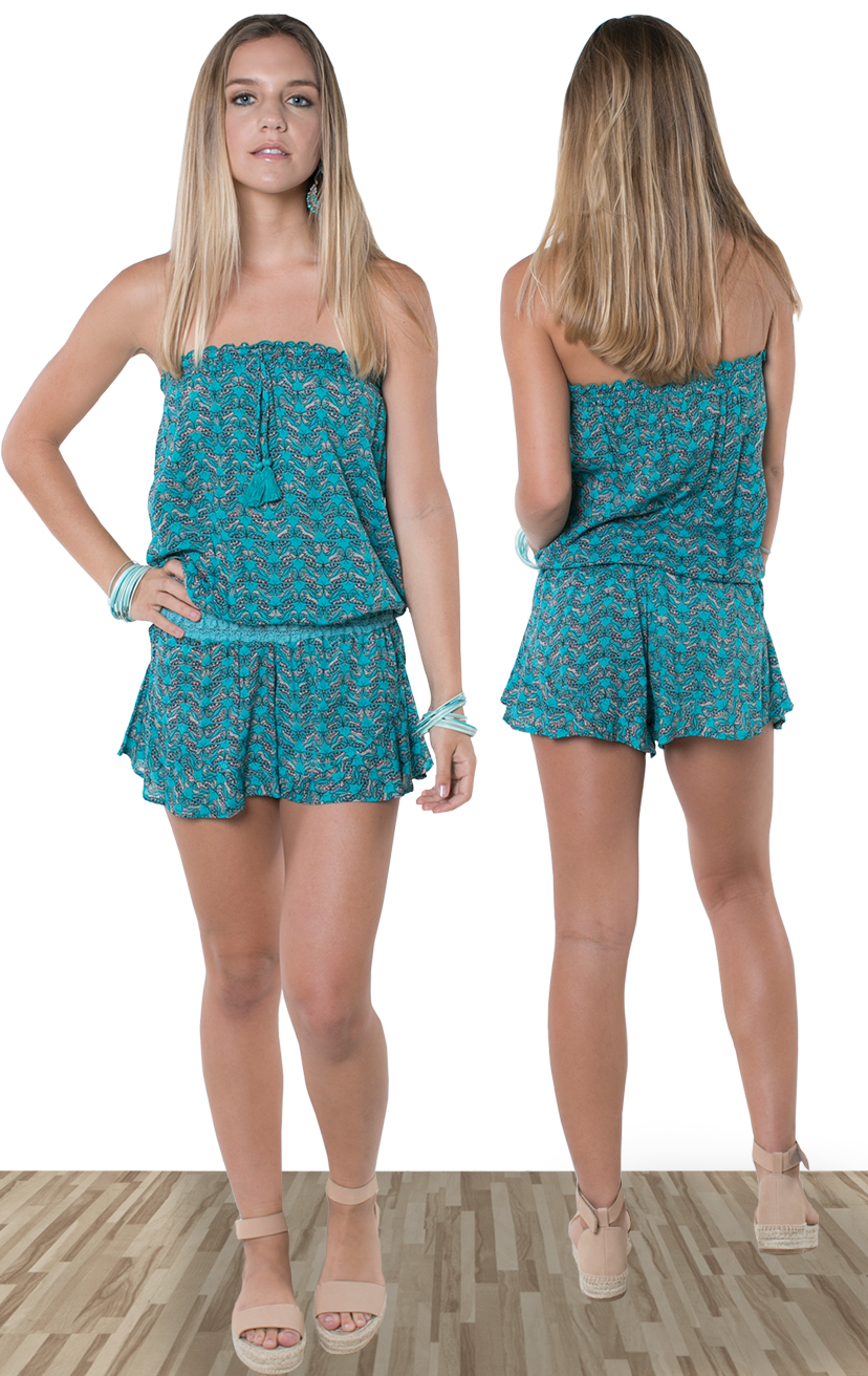 ROMPER CHANNEL   Strapless romper, pom pom ties, elastic lace waistband  100% RAYON | XS-S-M-L