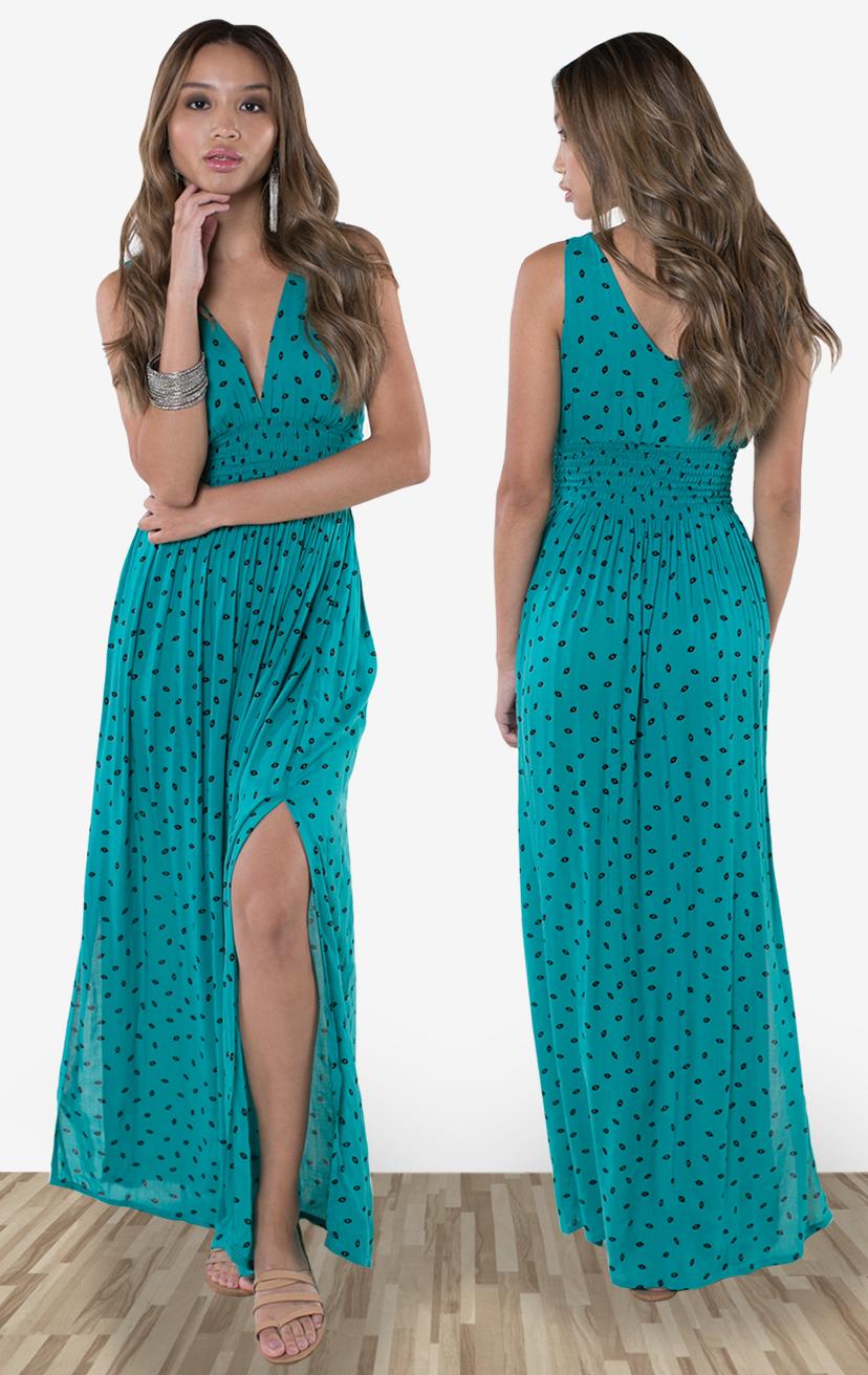 DRESS BONNIE     Deep-v sleeveless empire-waist maxi dress  100% RAYON | XS-S-M-L
