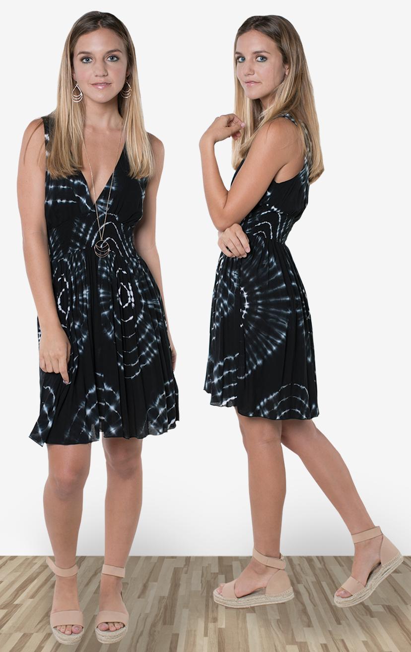 DRESS SANIBEL   Deep-v sleeveless empire-waist short dress  100% RAYON | XS-S-M-L
