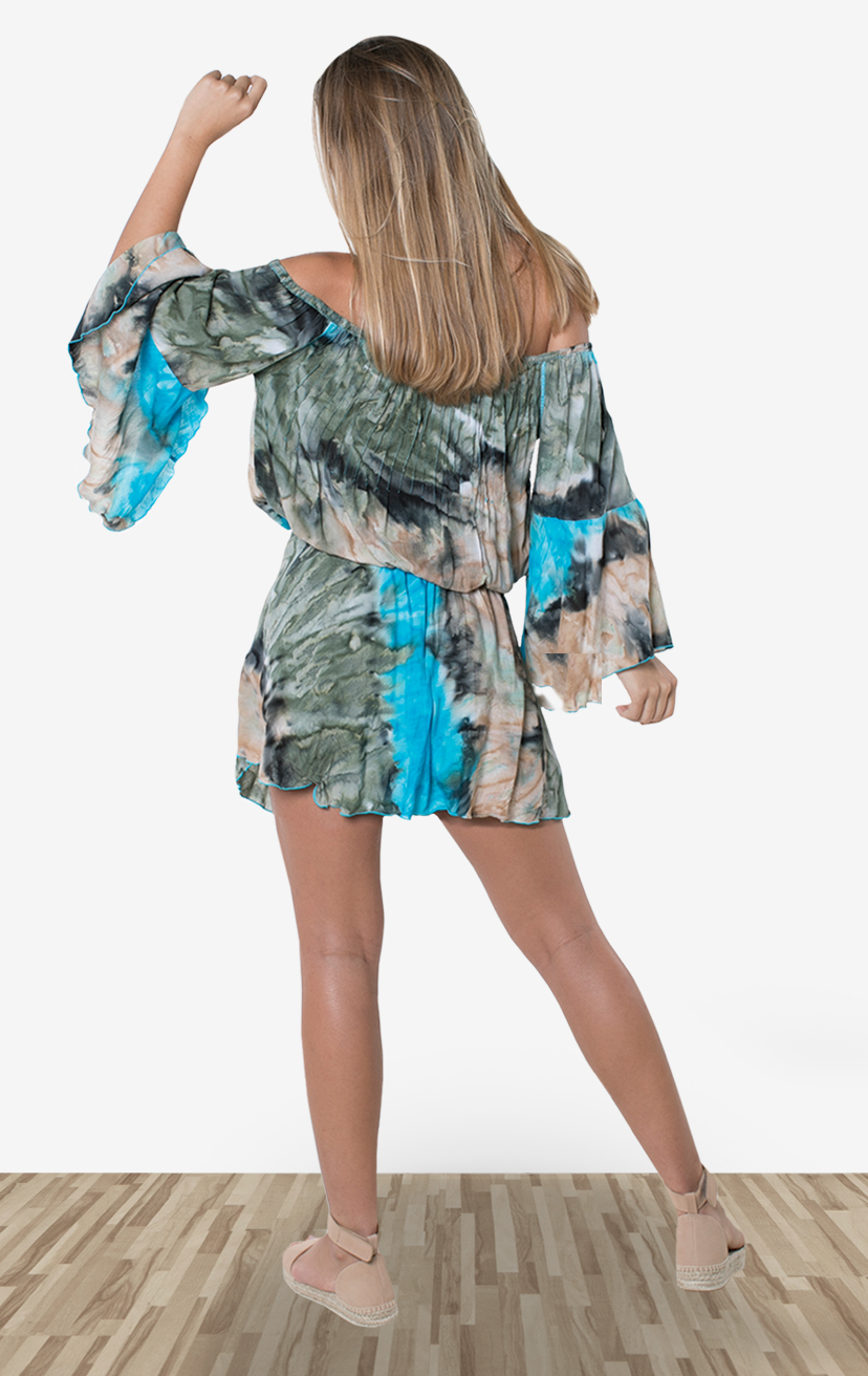 DRESS LAILI    Off shoulder bell slv short dress, elastic waist, front pleat & lace detail, front pom pom ties  100% RAYON | XS-S-M-L