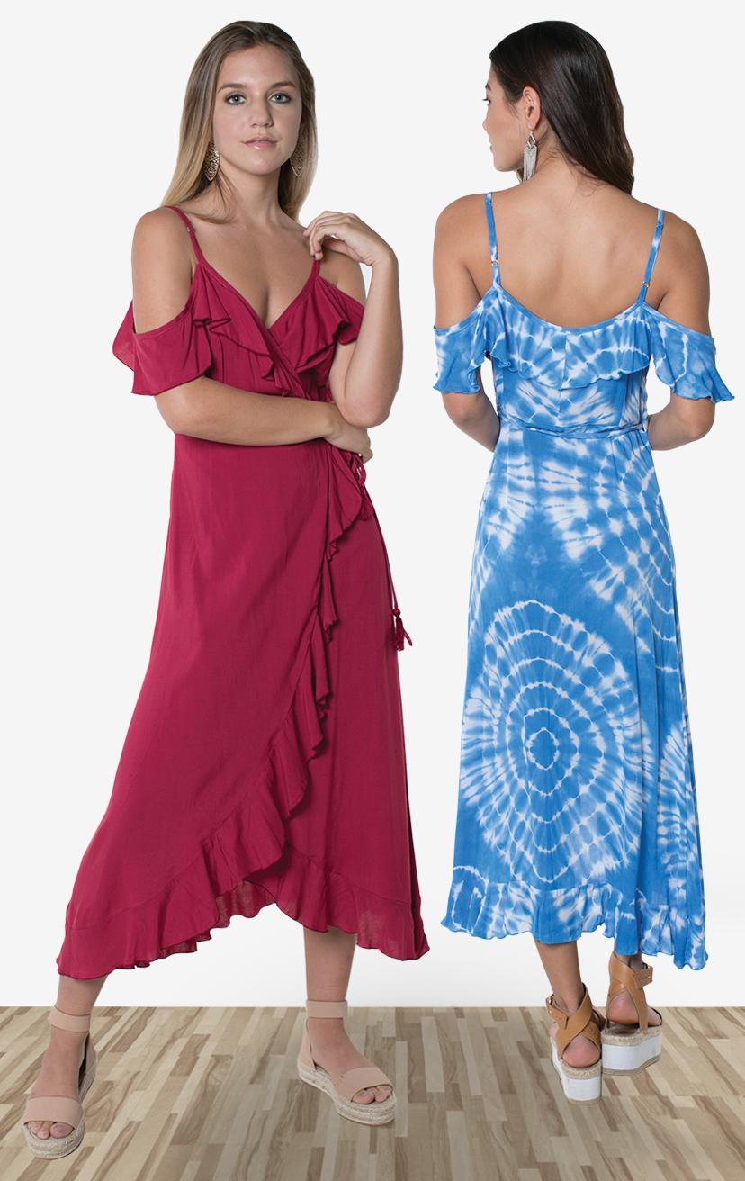 DRESS JOYA   Cold shoulder wrap midi dress, all around ruffle edges, uneven round hem  100% RAYON | XS-S-M-L