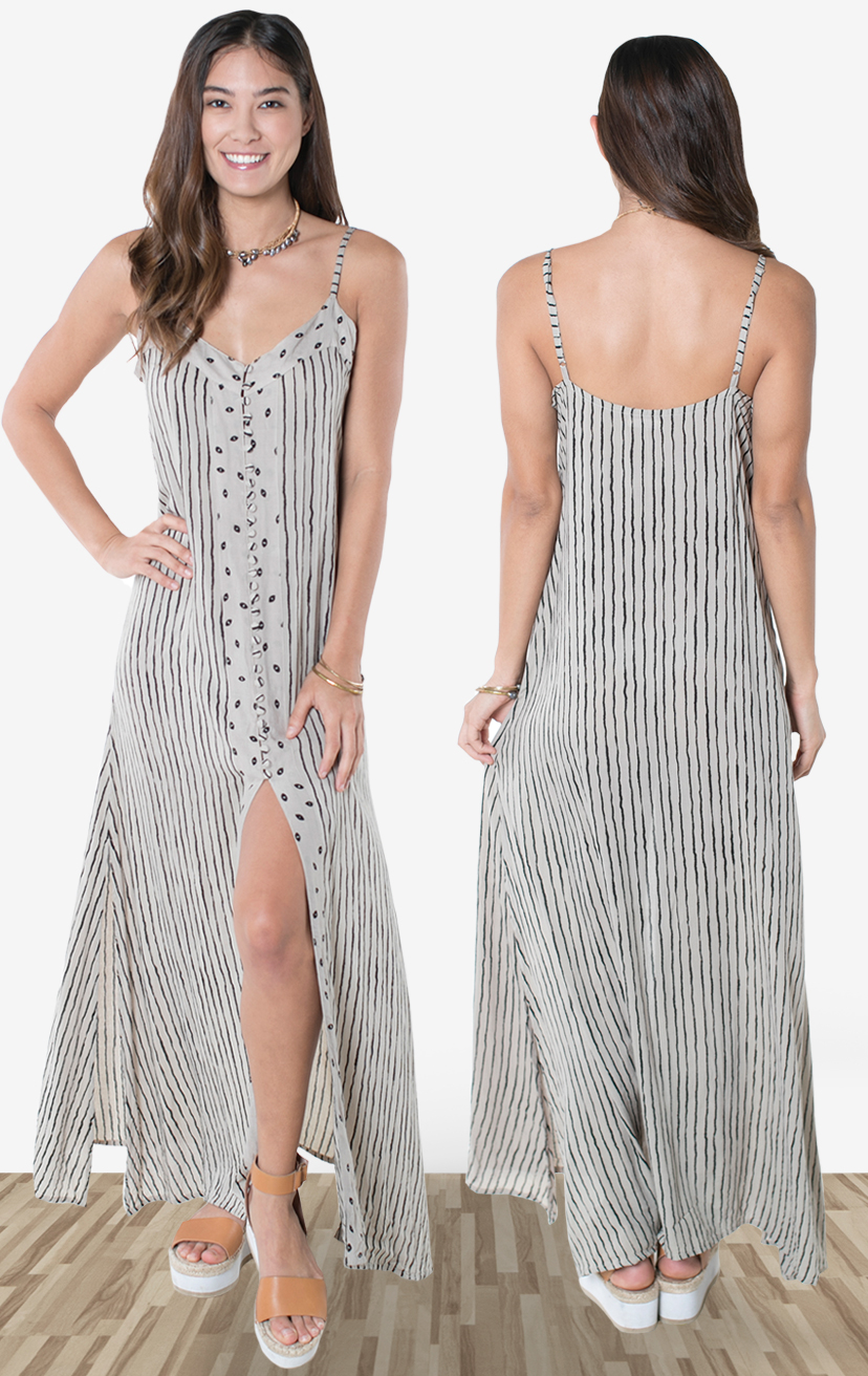 DRESS LAHAINA   Spaghetti strap maxi w/ button front and front slit above the knee  100% RAYON | XS-S-M-L