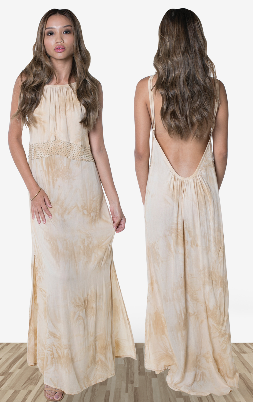 DRESS MIRAGE   Halter maxi dress, with beaded front detail above waist line, side slits, deep open back  100% RAYON | XS-S-M-L