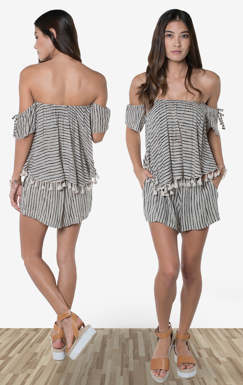 TOP ONYX   Cap slvs off-shoulder top w/ tassels  100% RAYON | XS-S/M-M/L  –   SHORTS SKYLINE   Wide waistband shorts, back elastic, front button detail, side pockets  100% RAYON | XS-S-M-L
