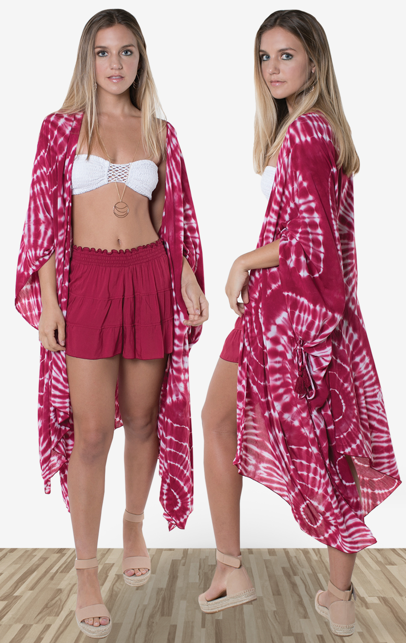 BANDEAU BLISS   Smocked top, center crochet, x-back straps  100% RAYON | XS/S-M/L  –   SHORTS SKYLINE   Open front midi-length kimono, with side ties detail  100% RAYON | XS/S-M/L  –   SHORTS NAPLES   Smocked waist, w/ lined detailed shorts  100% RAYON | XS-S-M-L