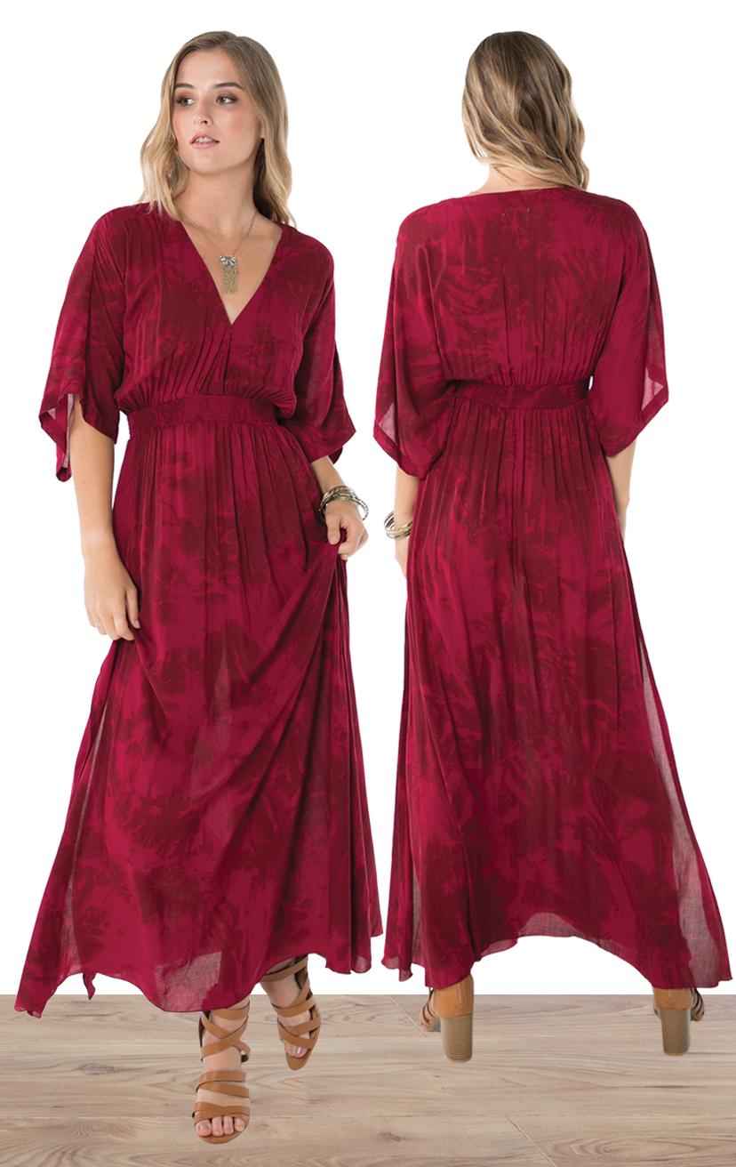 DRESS POPPY   Empire waist, double side slit, bell 3/4 slv maxi dress  100% RAYON | XS-S-M-L