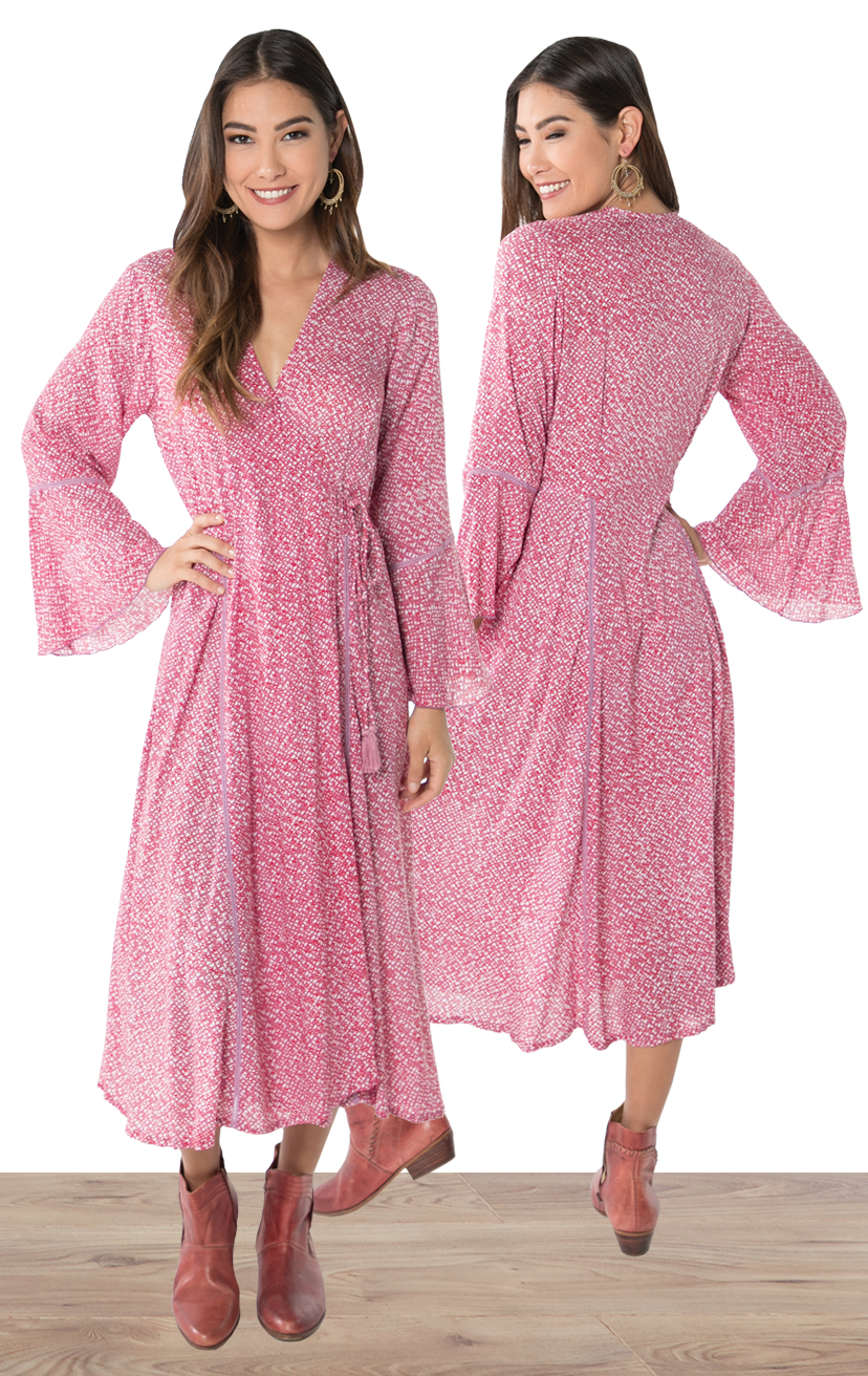 DRESS MALLOW   V-neck wrap tea length dress with bell sleeves  100% RAYON | XS-S-M-L