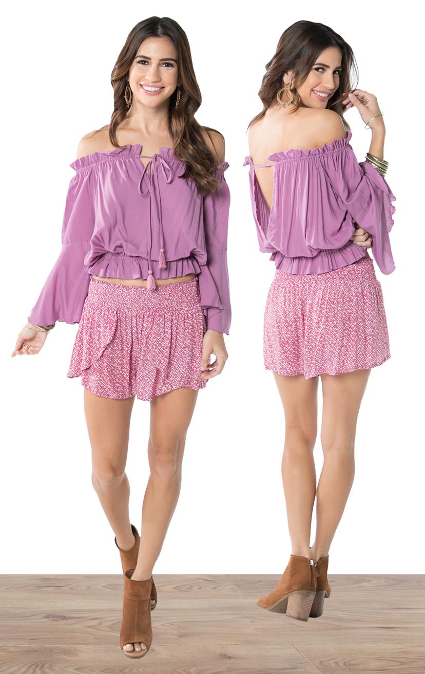 TOP DEVYN   L/s off shoulder tie front blousant top  100% RAYON | XS-S-M-L  –   SHORTS CHASER   Wrap style shorts, elastic waist  100% RAYON | XS-S-M-L
