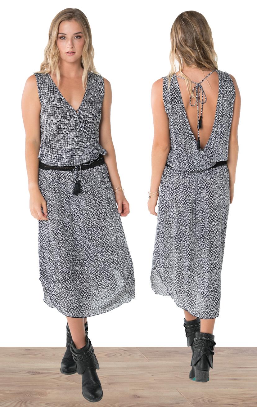DRESS SOLEIL   Sleeveless wrap style, lace waistband, ties w/ tassels, tulip-hem midi dress  100% RAYON | XS-S-M-L