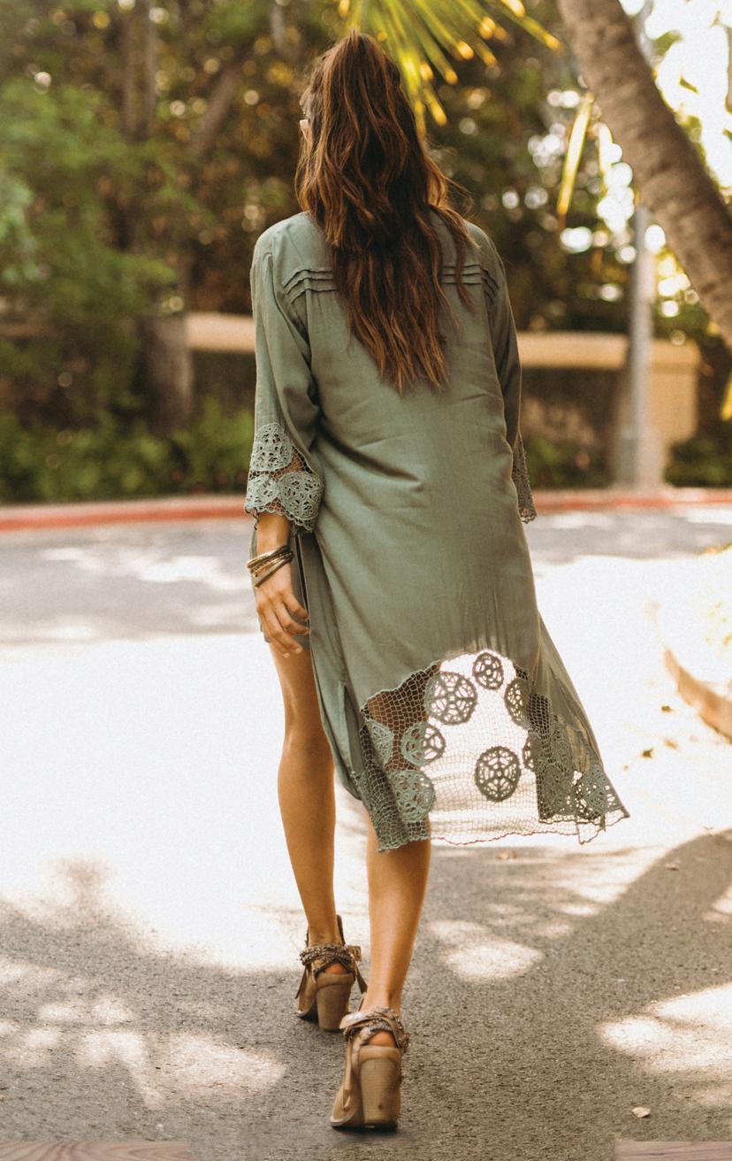 KIMONO KEISHA   L/s knee length kimono w/ cuff and back krawang embroidery, pleat back detail  100% RAYON | XS-S-M-L  –   TOP AYU   Top smocked bikini front with three tiered back detail  100% RAYON | XS/S, M/L  –   SHORTS CHASER   Wrap style shorts, elastic waist  100% RAYON | XS-S-M-L