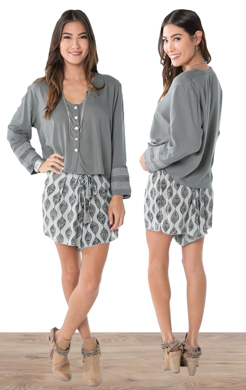 TOP LOUNGE   Button down long slv top with double lace pleated cuff  100% RAYON | XS-S-M-L  –   SHORTS LUKE   High waist drawstring lace up shorts, with single front pleat detail  100% RAYON | XS-S-M-L