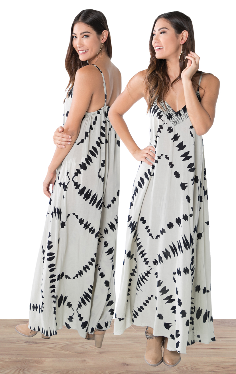 DRESS CURACAO   Beaded v-neckline, spaghetti strap maxi dress  100% RAYON | XS-S-M-L