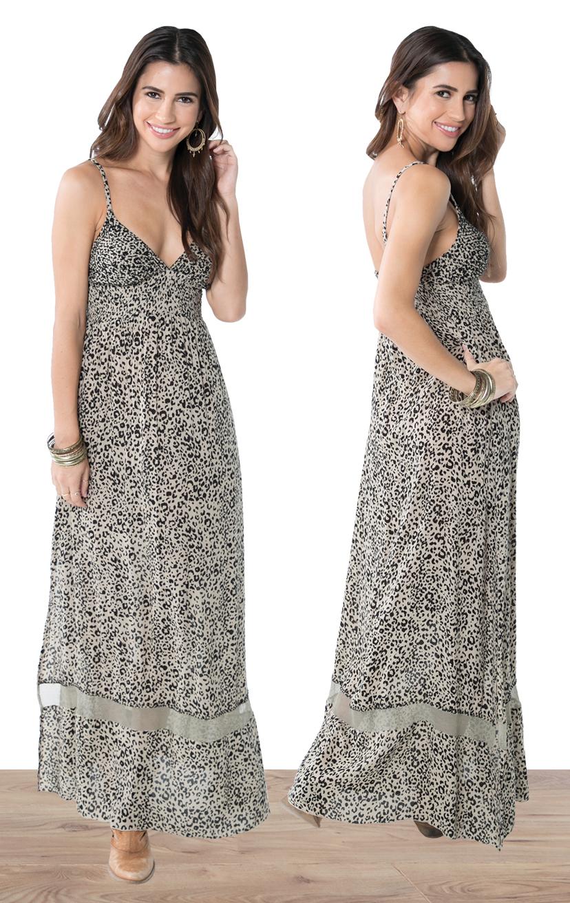 DRESS JASPER   Empire waist beaded triangle top, spaghetti strap, bottom lace, elastic back maxi dress  100% RAYON | XS-S-M-L