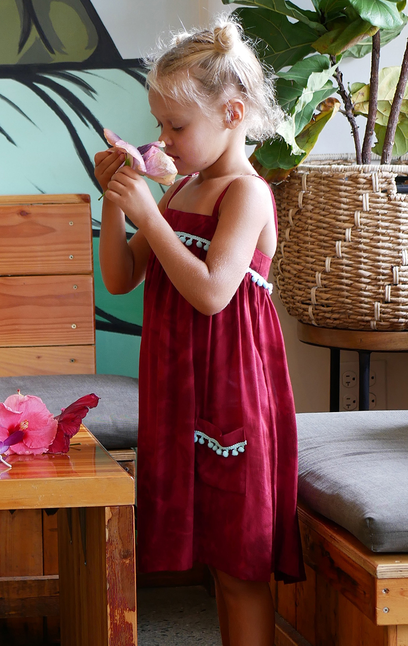 DRESS POPSICLE   Spaghetti-strap flowy dress w/ pom pom detail on top & front pockets  100% RAYON | 2/3 | 4/5 | 6/7 | 8/10