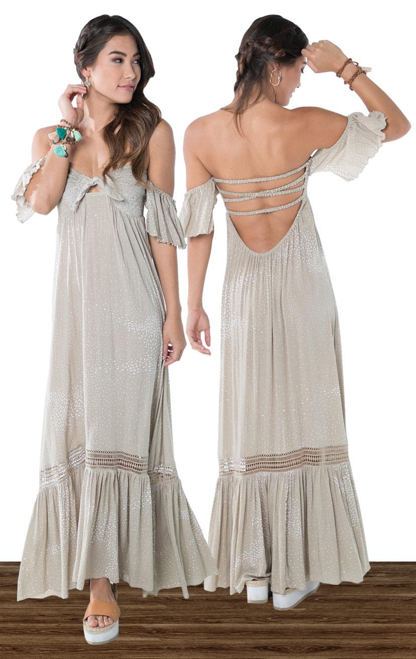 DRESS MERCI   Cap slv strapless maxi dress, smocked bodice w/ a tie detail, x-back, bottom ruffle w/ lace  100% RAYON | XS-S-M-L