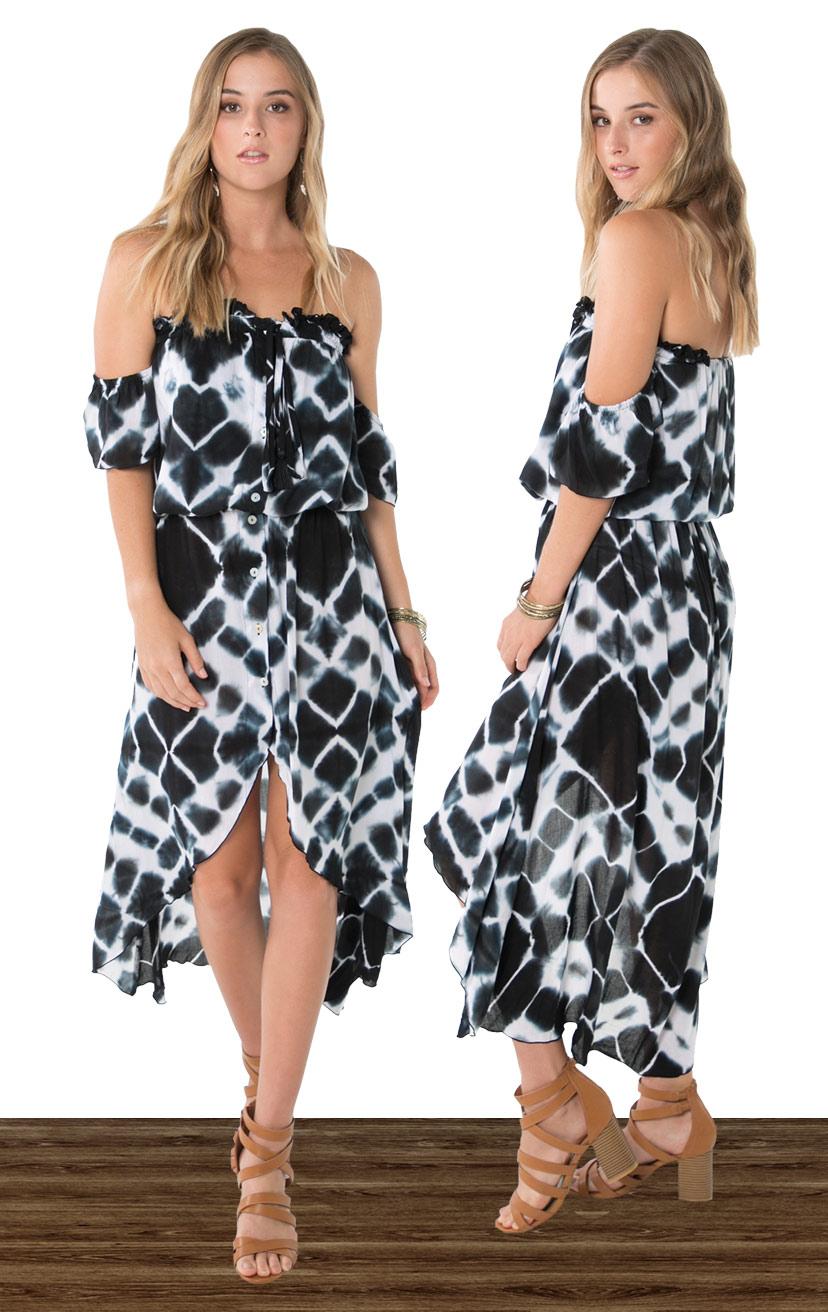 DRESS WINNIE   Strapless off-shoulder, cap-slv, button down, high-low maxi dress  100% RAYON | XS-S-M-L