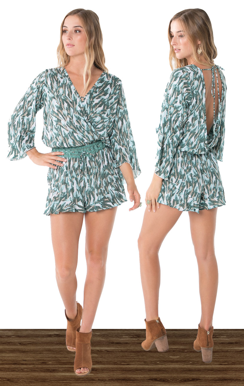 ROMPER HOWLITE   High waist bell-slv romper, front and back wrap, rochet waistband, ties w/ tassels  100% RAYON | XS-S-M-L