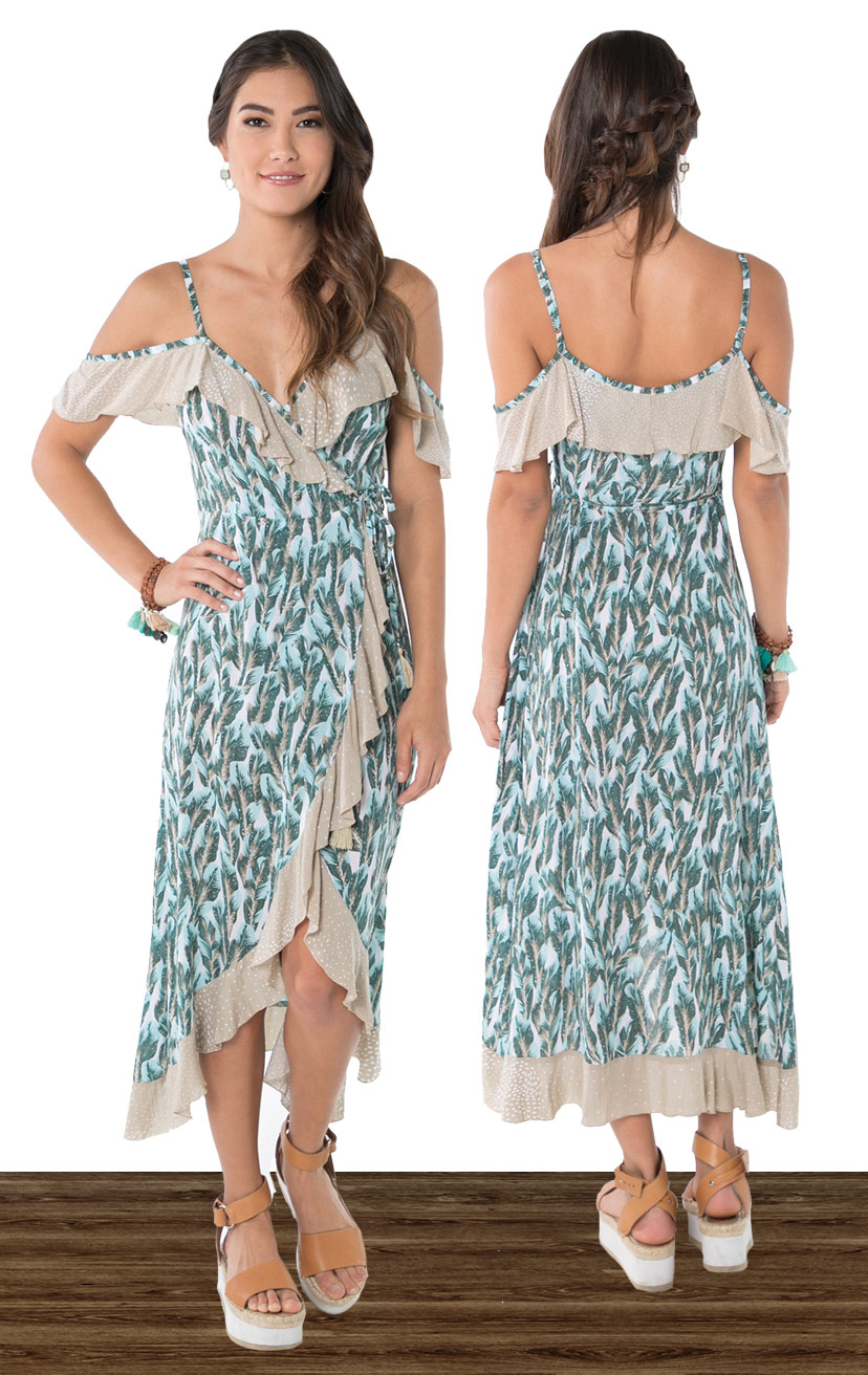 DRESS JOY   Cold shoulder wrap midi dress, all around ruffle edges, uneven round hem  100% RAYON | XS-S-M-L