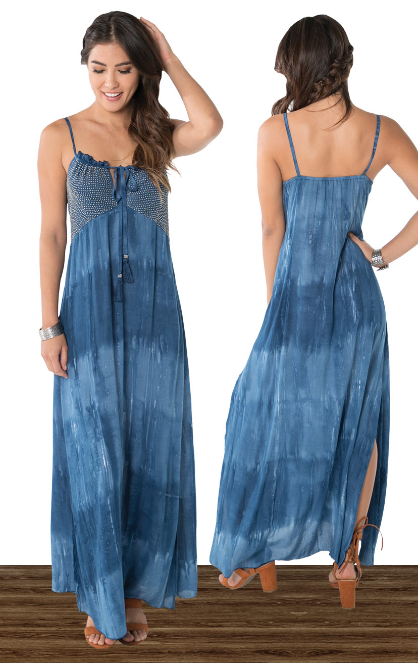 DRESS SHOUT   Beaded top adjustable strap maxi dress, side slits  100% RAYON | XS-S-M-L