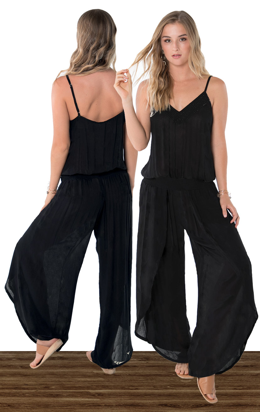 JUMPSUIT KALANI   Beaded v-neckline, spaghetti strap jumpsuit, wrap style pant, elastic waist  100% RAYON | XS-S-M-L