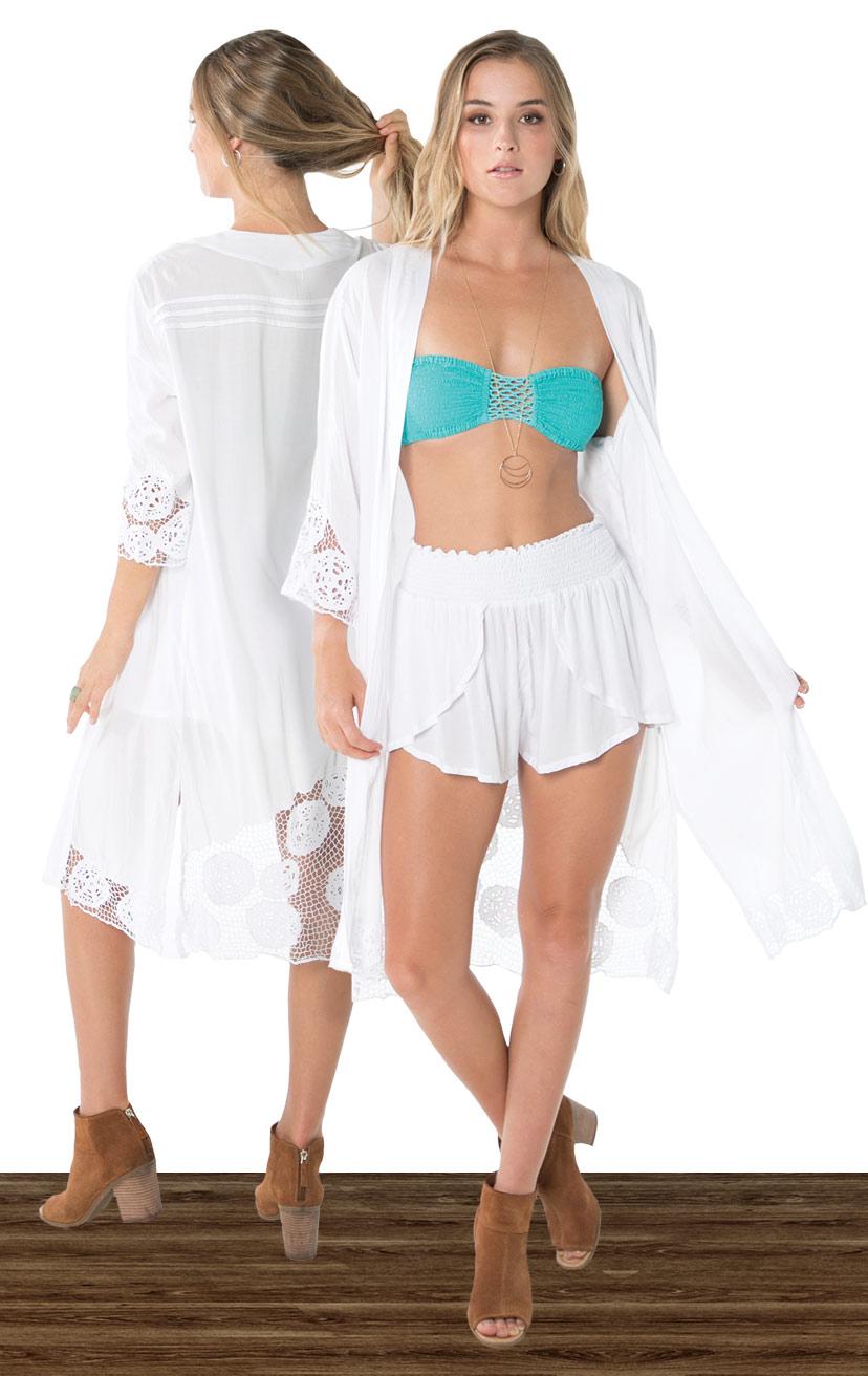 KIMONO KEISHA   L/s knee length kimono w/ slv and back krawang embroidery, pleat back detail  100% RAYON | XS-S-M-L  –   BANDEAU BLISS   Smocked top, center crochet, x-back straps  100% RAYON | XS/S, M/L  –   SHORTS CHASER   Wrap style shorts, elastic waist  100% RAYON | XS-S-M-L