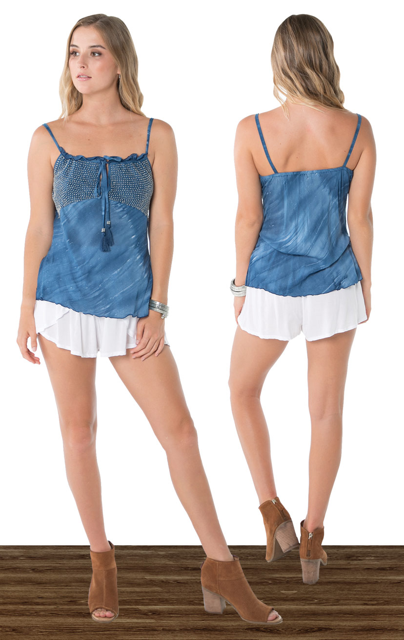 TOP LUCY   Spaghetti slide adj shoulder straps, ruffle detail, beaded bust side slits  100% RAYON | XS-S-M-L  –   SHORTS CHASER   Wrap style shorts, elastic waist  100% RAYON | XS-S-M-L
