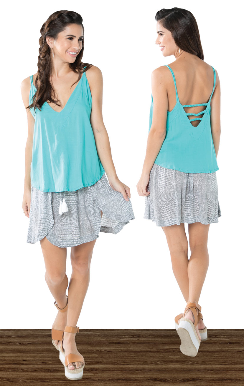 TOP JULLY   Double shoulder strap tank top, wide cut triangle bodice, side cutout, back straps detail  100% RAYON | XS-S-M-L  –   SKIRT MAGGIE   Wrap above knee high skirt, back elastic, front ties, round bottom hem  100% RAYON | XS-S-M-L