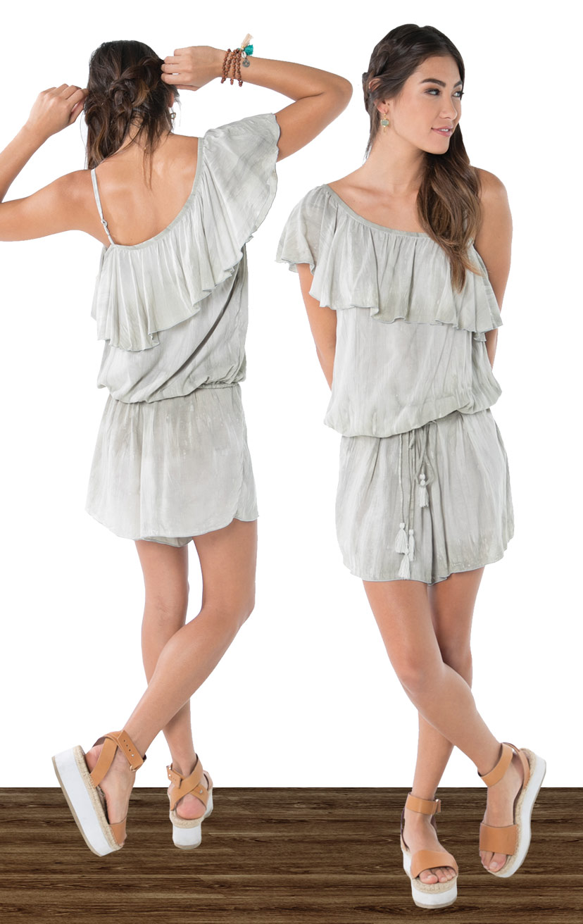 TOP DIXIE   Asymmetrical, one side spaghetti strap ruffle top  100% RAYON | XS-S-M-L  –   SHORTS LUKE   High waist drawstring lace up shorts, with single front pleat detail  100% RAYON | XS-S-M-L