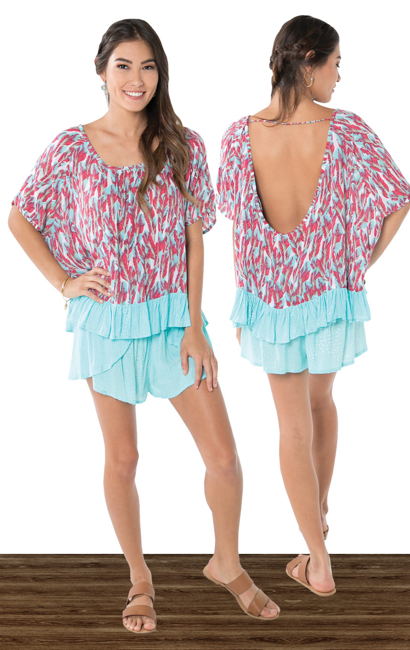 TOP SADIE   Cap sleeve tunic top with bottom ruffle detail  100% RAYON | XS-S-M-L  –   SHORTS CHASER   Wrap style shorts, elastic waist  100% RAYON | XS-S-M-L