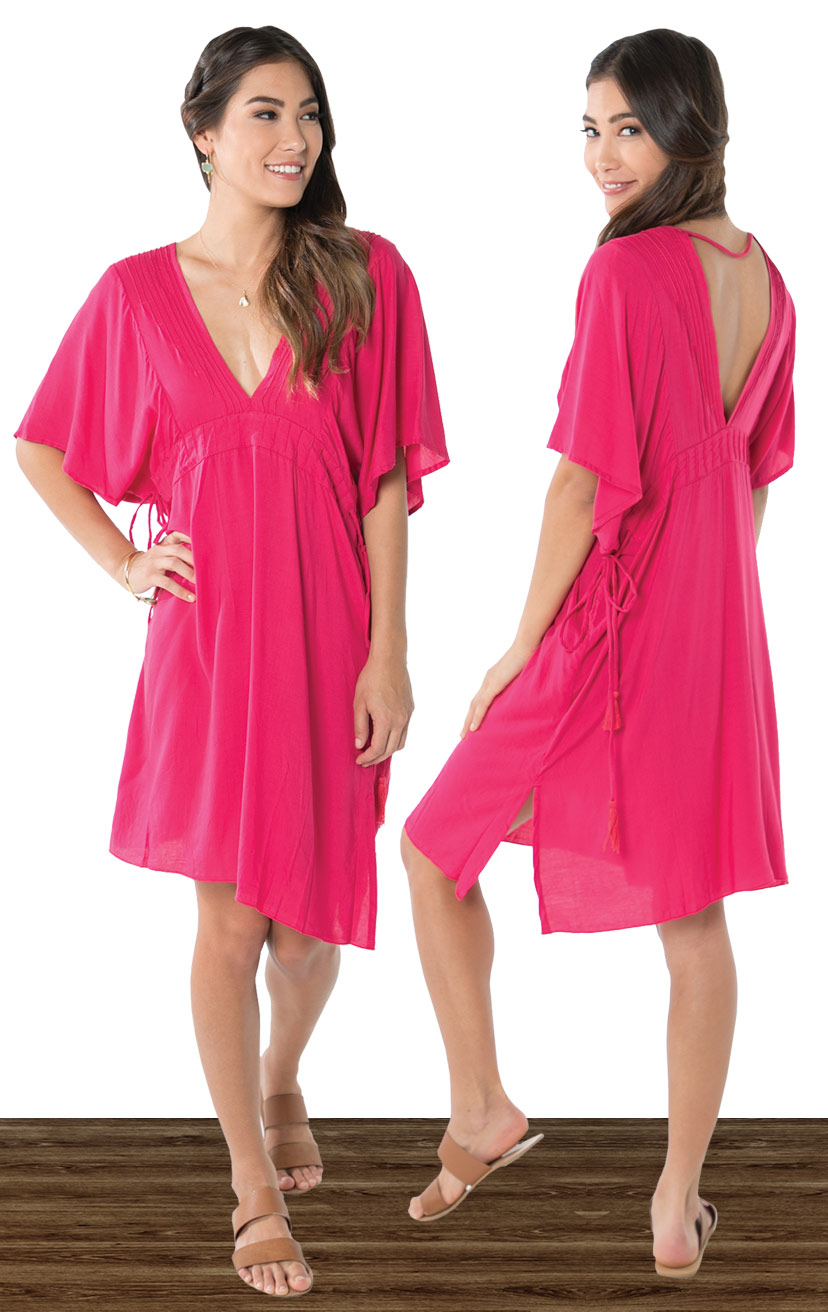 COVER-CHICA   Flutter slv deep v-front & back cover-up, pleated neckline & under bust detail  100% COTTON | XS-S-M-L