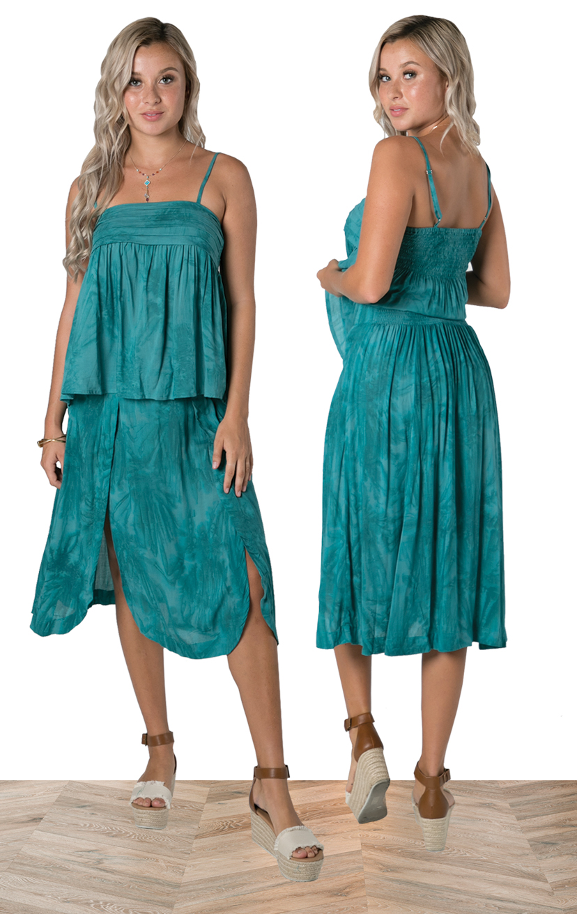 TOP JULIET   Pleated top detail, spaghetti adjustable strap, smocked back, babydoll style top  100% RAYON | XS-S-M-L  –   SKIRT LEIA   Midi length wrap skirt, back elastic, front ties, round bottom hem  100% RAYON | XS-S-M-L