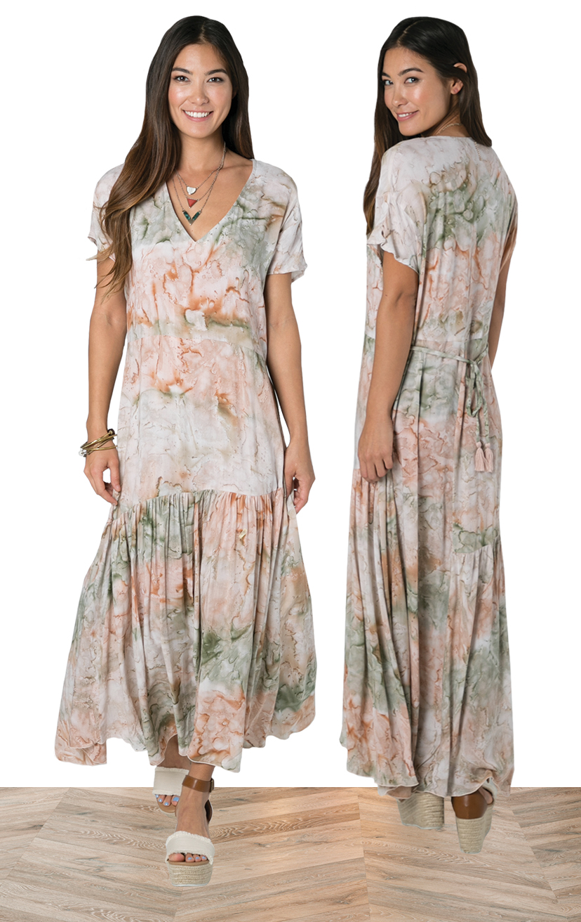 DRESS OHANA   Maxi relaxed fit dress w/ cap sleeves and asymetrical cut lines, adj waist back tie  100% RAYON | XS-S-M-L
