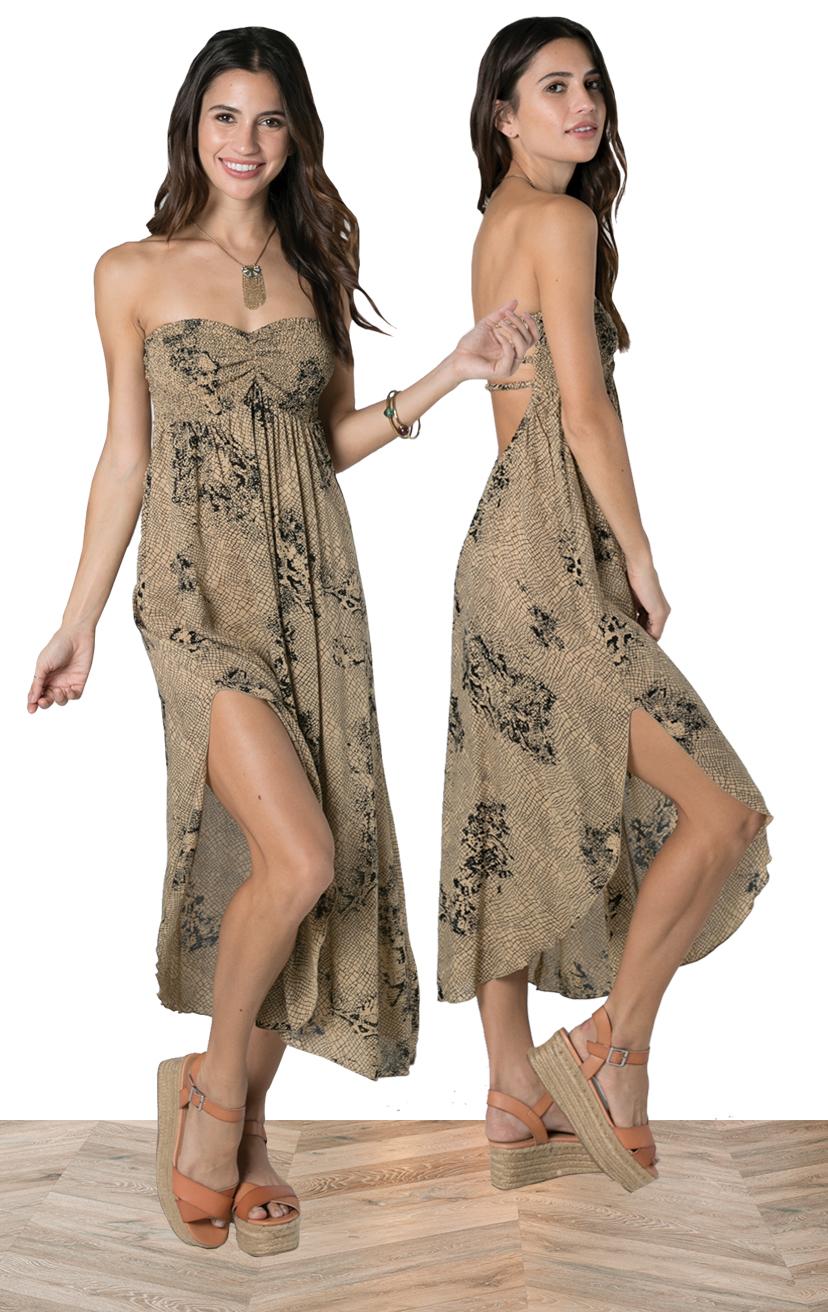 DRESS SHAYLA   Strapless smocked top, ankle length dress, deep slit round bottom on one side  100% RAYON | XS-S-M-L