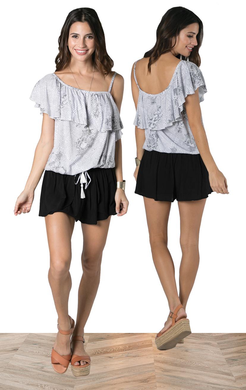 TOP DIXIE   Asymmetrical, one side spaghetti strap ruffle top  100% RAYON | XS-S-M-L  –   SHORTS CHASER   Wrap style shorts, elastic waist  100% RAYON | XS-S-M-L