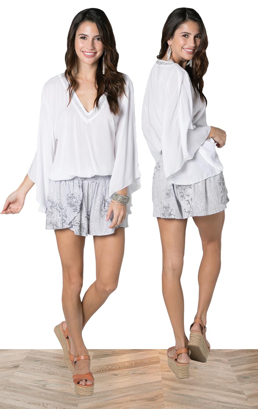 TOP TAVANA   Long bell-slv, v-neck top w/ beaded neckline, elastic waist  100% RAYON | XS-S-M-L  –   SHORTS CHASER   Wrap style shorts, elastic waist  100% RAYON | XS-S-M-L