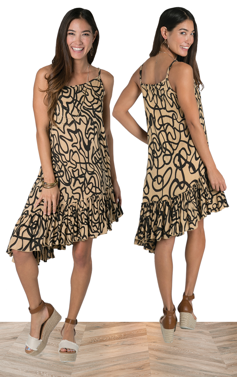 DRESS CABANA   Spaghetti strap asymmetrical ruffle bottom dress  100% RAYON | XS, S, M, L