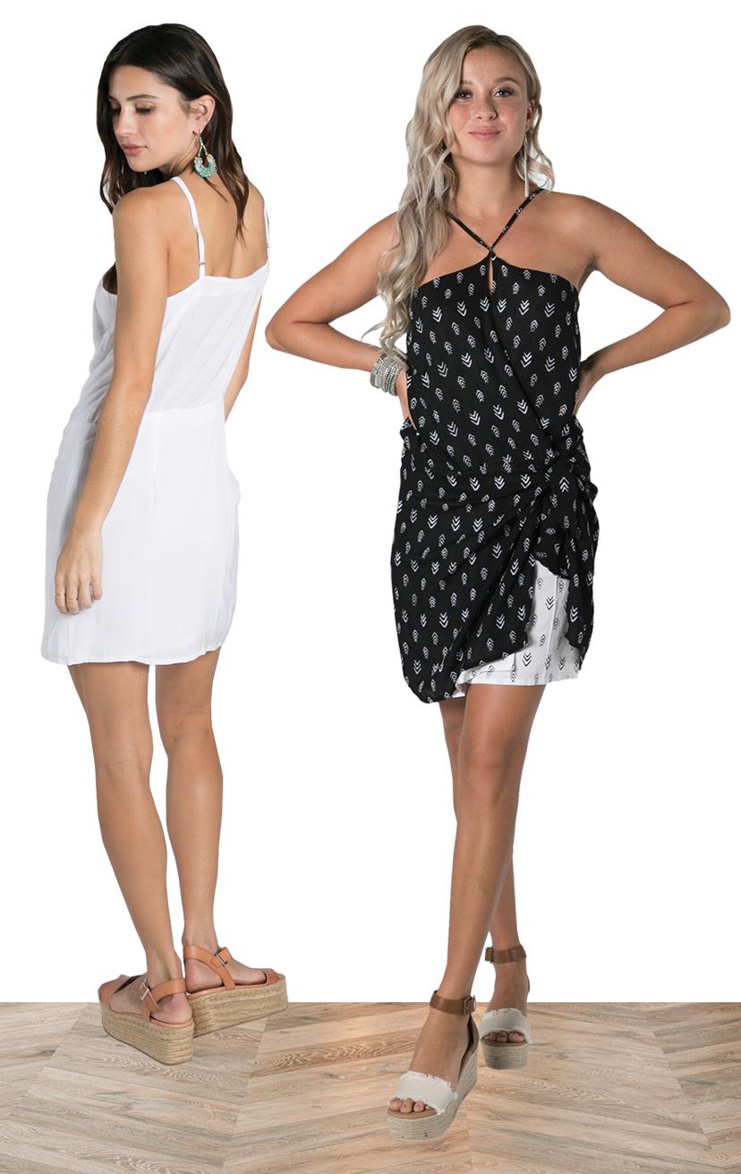 DRESS EMILY   Halter neck dress, keyhole wrap top, double layer skirt w/ tied top layer  100% COTTON | XS-S-M-L