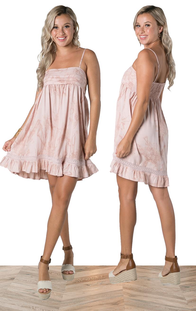 DRESS BOWIE   Spaghetti strap short dress, pleat detail, smocked back, renda & ruffle bottom  100% RAYON | XS-S-M-L