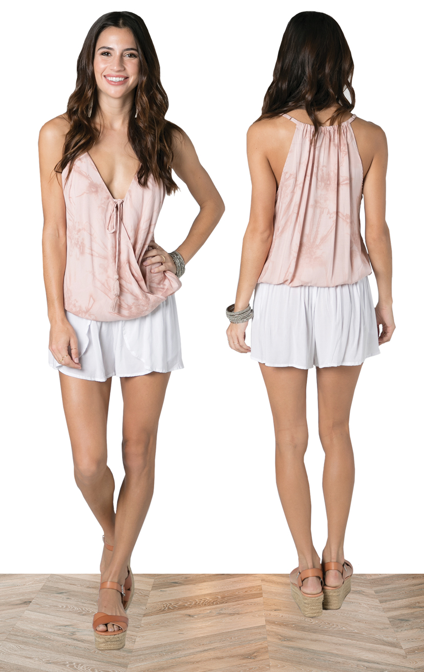 TOP PALOMA   Spaghetti strap racer back, surplice front with pom pom tie top  100% RAYON | XS-S-M-L  –   SHORTS CHASER   Wrap style shorts, elastic waist  100% RAYON | XS-S-M-L