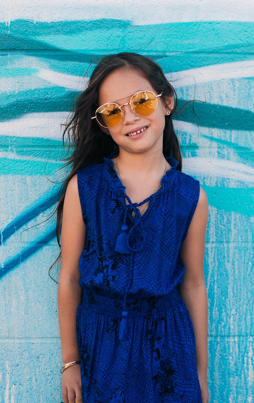 DRESS SOLEIL   Sleeveless wrap style, elastic waistband, ties w/ tassels, tulip-hem midi dress  100% RAYON | 2/3 | 4/5 | 6/7 | 8/10