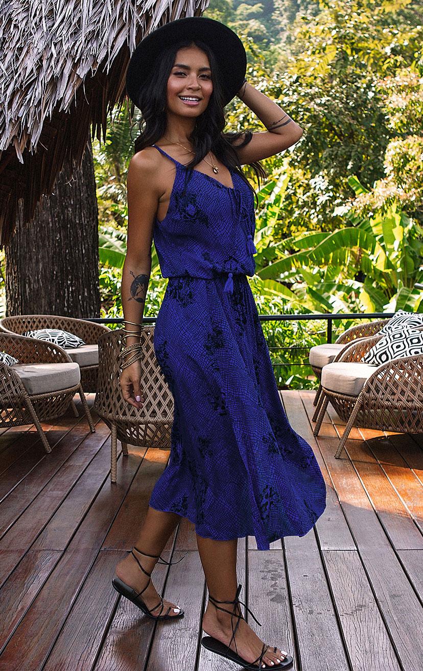 DRESS ACEY   Front surplice midi dress w/ side slit, front pom pom ties, racerback  100% RAYON | XS-S-M-L