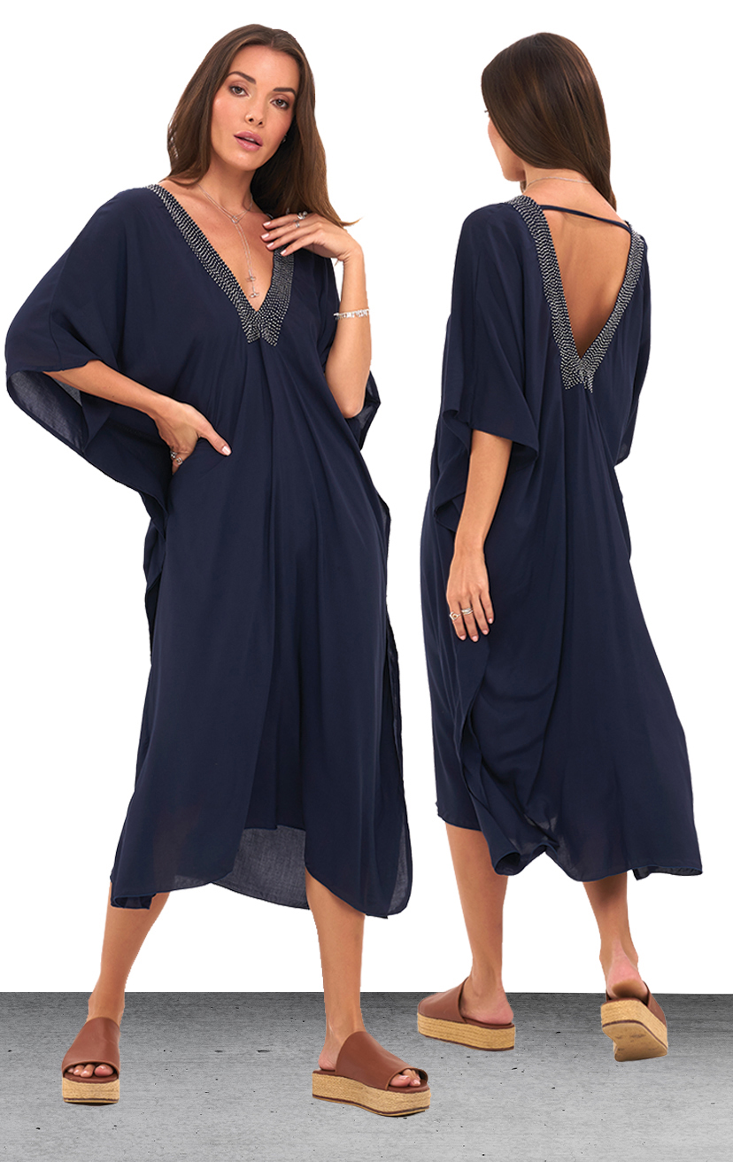 TUNIC STRAND   Flutter slv deep v-front and back, beaded neckline and side slits tunic  100% RAYON | XS-S-M-L