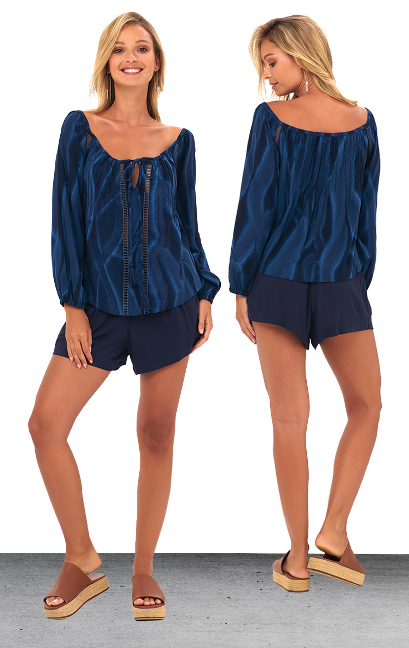 TOP SOPHIA   Off shoulder bell slv, w/ keyhole drawstring tie, front lace detail top  100% RAYON | XS-S-M-L  –   SHORTS SKYLINE   Wide waistband shorts, back elastic, front button detail, side pockets  100% RAYON & LINE | XS-S-M-L
