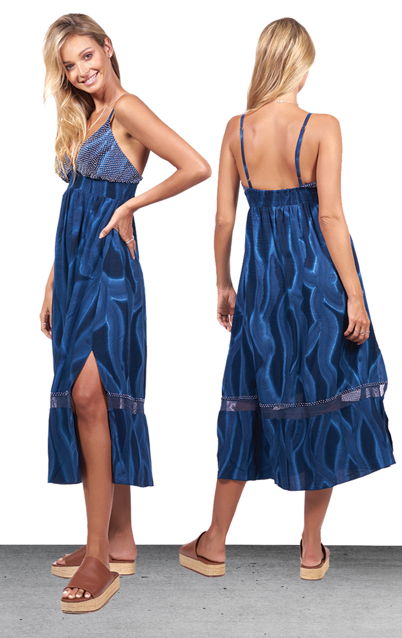 DRESS MATISSE   Beaded triangle top, spaghetti strap, wide smocked under bust,  elastic back midi dress  100% RAYON | XS-S-M-L